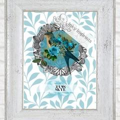 Skye Blue Vintage Floral Bird Custom Name Digital Download