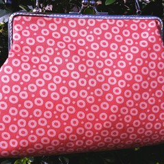 Orange circles clutch with shoulder chain
