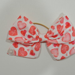 Pink Hearts Bow Ear Saver for Ear Loop Face Masks