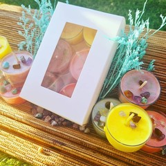 Mix Me Up Tealight pack! Strong Scented, Crystals inside!  100% Soy, palm, gel