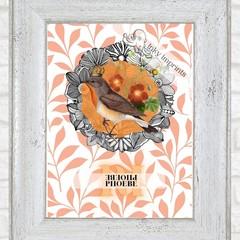Pheobe Orange Vintage Floral Bird Custom Name Digital Download