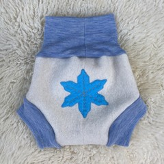Large Snowflake Wool Nappy Cover - short cuffs