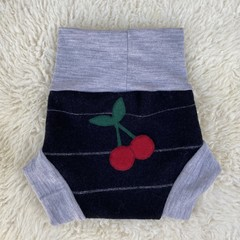Large Cherries Wool Nappy Cover - short cuffs