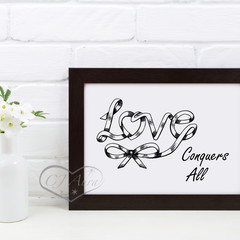 Unique Love Conquers All Word Art Printable Instant Download