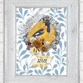 Penny Yellow Vintage Floral Bird Maggie Custom Name Digital Download