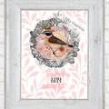 Tilly Pink Vintage Floral Bird Custom Name Digital Download