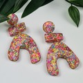U-Turn Stack - Confetti Rebel Glitter Resin - MEGA Dangle earrings