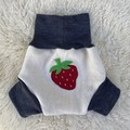 Medium Strawberry Wool Nappy Cover - Short Cuff