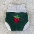 Large Strawberry Wool Nappy Cover - extra short cuffs