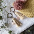 Rose Quartz & Cotton Tassel Keyring | 2 Options