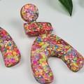 U-Turn Stack - Confetti Rebel Glitter Resin - MEGA Dangle earrings