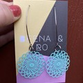 Mint filigree earrings