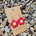 Polymer clay pink flower earrings