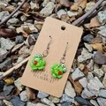 Polymer clay frog dangle earrings
