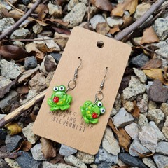 Polymer clay frog dangle earrings