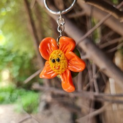 Polymer clay flower keyring or bag charm