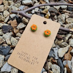 Polymer clay flower cactus stud earrings