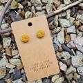 Polymer clay flower cactus stud earrings