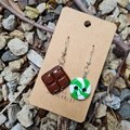 Polymer clay choc mint earrings