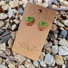 Polymer clay cactus stud earrings