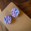 Knitted Pastel Ombré blue and pink earrings