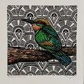 Australian Birds -Rainbow Bee Eater Edition of  25 - Linoprint and Watercolour