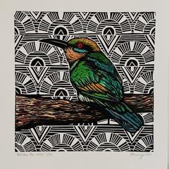 Australian Birds -Rainbow Bee Eater Edition of  25 - Linoprint and Watercolour