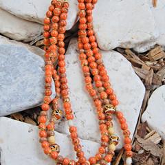 Mostly Orange Multi Strand Necklace