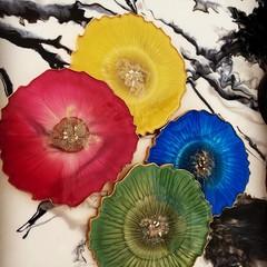 "Handmade Resin Coasters SET  ""Flowers"""