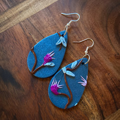 Blue with pink native blossoms earrings