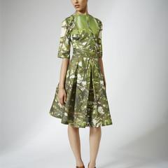 Pleated Green Tree Dress - Size 10