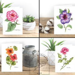 Floral Watercolour Artist Greeting Cards, Single or Set of 4 or 8, A6 Blank