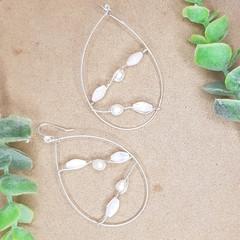 Pearl Wire Wrapped Tear Drop Earrings