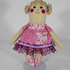 Cassie Cloth Doll - Mini Heirloom Style Fabric Doll in Shades of Pink and Lace