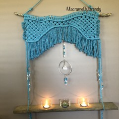 Beach Blue Macrame Tealight Candle Wall Hanging