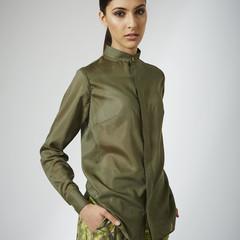 Olive Chiffon Shirt - Size 8