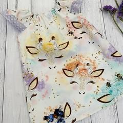 Seaside Ruffle Dress, Size 000 00 0 1 or 2, unicorns and rainbows