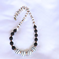 Black & White Czech Bead Necklace
