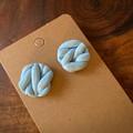 Knitted Pastel blue earrings