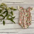 Seaside floral Romper, Size 0000 000 00 or 1, Baby Romper, Baby Girls Playsuit