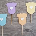 Cupcake Toppers -  Baby Pastel Jumpsuits