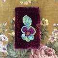 Seriously beautiful deep burgundy quilted velvet needle keep