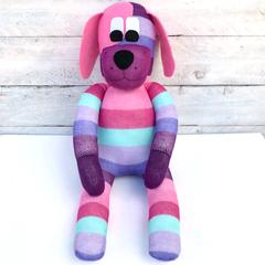 'Dixie' the Sock Dog - pink, purple & aqua stripes  - *READY TO POST*