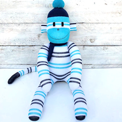 'Jasper' the Sock Monkey - navy blue, turquoise & white stripes -*READY TO POST*