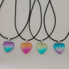 Rainbow crystal heart pendant necklaces