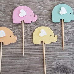 Cupcake Toppers - Baby Pastel Elephants