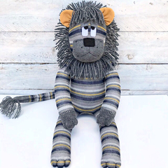 'Larry' the  Sock Lion - grey, navy blue & mustard stripes - *READY TO POST*