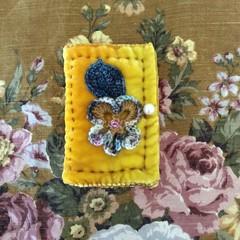 Lush deep golden yellow quilted velvet needle keep