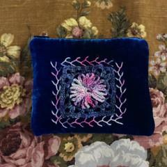 Indigo soft hand dyed velvet zip purse with crochet motif