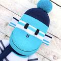'Jasper' the Sock Monkey - navy blue, turquoise & white stripes -*READY TO POST*